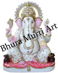 Designer White Marble Painted Ganesh Statue