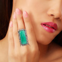 Emerald Gemstone & Baguette Diamond Ring