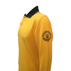 Men Yellow Long Sleeve Collar T-Shirt