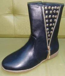 Black Women Hi Neck Zipper Shoe, Size: 37 And 41.