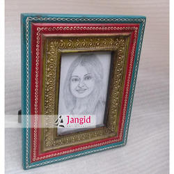 Antique Painted Wooden Photo Frame