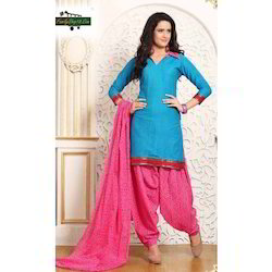 Cotton Printed Unstitched Patiala Suit Dress Material