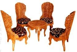 Wooden Carved Chairs Table
