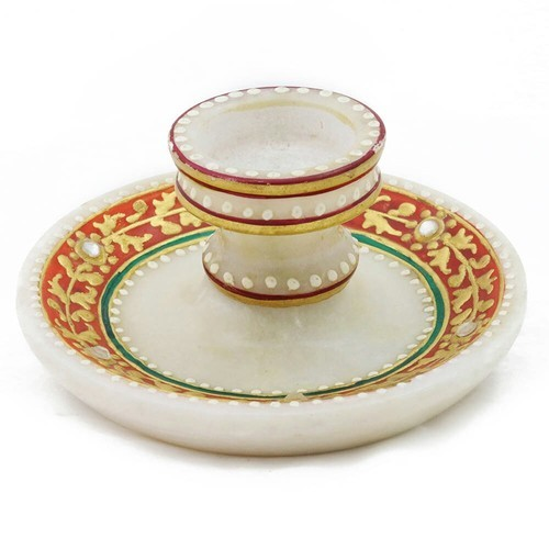 White Marble Candle Plate, Mb256 , Size: 3 inch