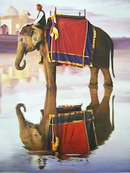 Elephant Tajmahal Painting