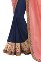 Pink and Blue Saree