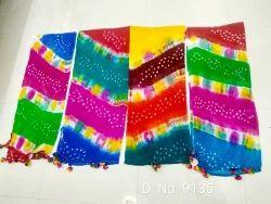 Multicolour Bandhej Dupatta Chiffon
