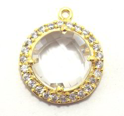 Cubic Zirconia Jewelry Bezel Connectors