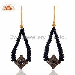Sapphire Pave Diamond Designer Earring Jewelry