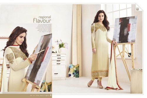 fd1a71292c8df9 Off White Heavy Embroidered Georgette Salwar Suit at Rs 1495 /piece ...