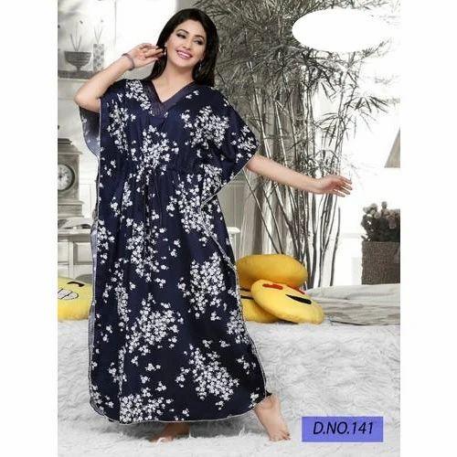 Ladies Cotton Printed Black Nightwear af51486af