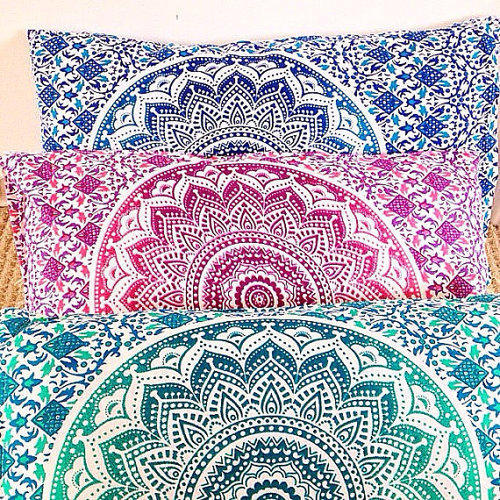 Indian Ombre Flourish Mandala Pillow Case Set Cushion