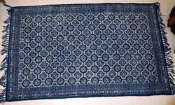 Vimla International Rectangular Cotton Handmade Indigo Small Floor Rug, Size: 5 x 8 feet