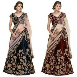 Designer Embroidered Silk Velvet Bridal Lehenga