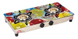 Two Burner Designer Glass Top Gas Stove
