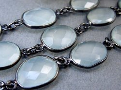 Blue Chalcedony Oxidized Station Chain