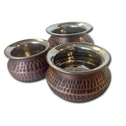 Smokey Finished Copper Punjabi Handi