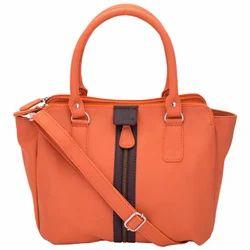 Front Zipped Handbag in Orange