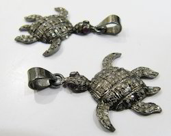 Turtle Shape Pave Diamond Pendant