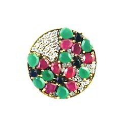 Red Green & Blue Stone Studed Turkish Ring