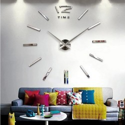 Red 3D Wall Clock, Size: 1000mm