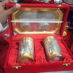 Silver Color Gold Plated Glass Set, Size: 6 inch