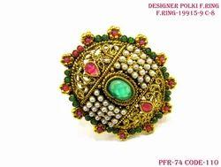 Golden Beautiful Multi Colour Finger Ring