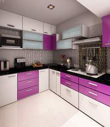 Wooden L Shape Stainless Steel Modular Kitchen