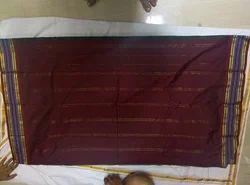 Kanjeevaram Cotton Border Plain Cotton Saree, With Blouse Piece