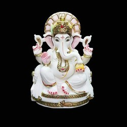 White And Gold Marble Ganesh Statue