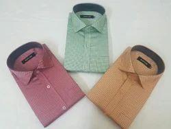 Men Pure Cotton Check Formal Wear Shirts