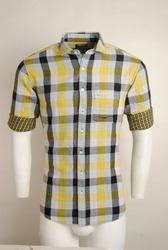 Casual Yellow Checked Shirt For Men
