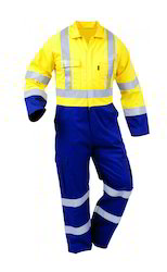 Male Polyester Cotton Industrial Reflective Coverall