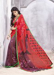 Red Georgette Printed Sarees