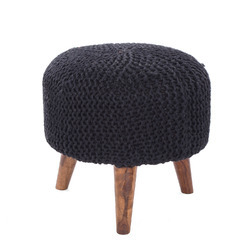 Knitted Black Wooden Round Stool