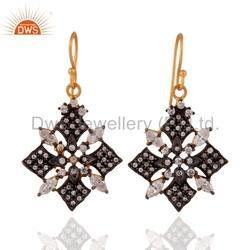 925 Silver Cz Dangle Earrings