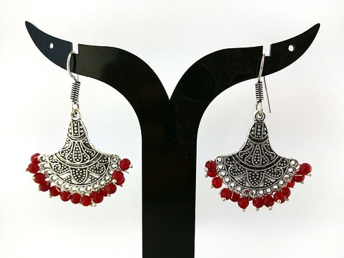8452a5343 German Silver Earring - Traditional Color Beads Jhumka Earrings ...