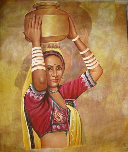 Rajasthani Rural Paintings, Size 18X24, Rs 6000 -7747