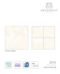 PRESIDENT Crystal Beige Vitrified Tiles, Thickness: 8 - 10 mm, Size: Medium
