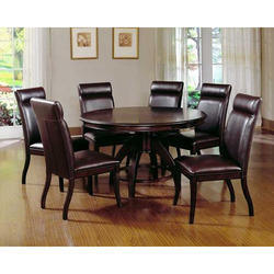 Wooden Black Round Shape Dining Table, for Home