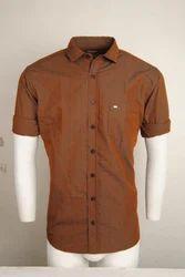 Brown Urban Design Casual Shirts