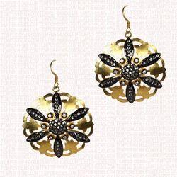 Black and Golden Diamond Earring