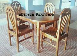 Teakwood Color 5x3 Teak Wood Dinning Table Oval Top