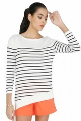 White And Black Women Knitted Top