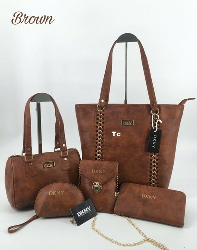 39a8299f6887 Brown Party Wear Women Hand Bags (5 Piece Combo)