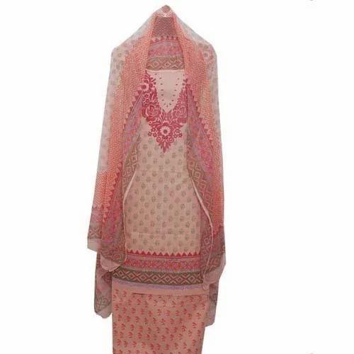 Party Wear Ladies Printed Unstitched Suit