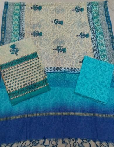 Sky Blue Coloured Chanderi Suit