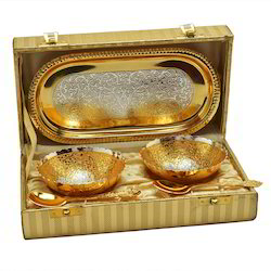 Silver And Gold Plated Mini Bowl Set With Tray And Spoon
