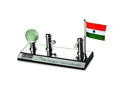 Card Holder with Flag and Globe Showpiece