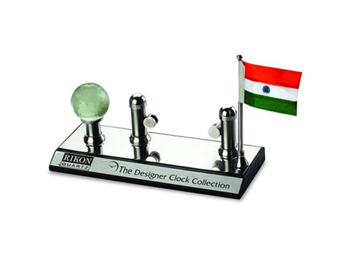 Rectangular Card Holder with Flag and Globe Showpiece